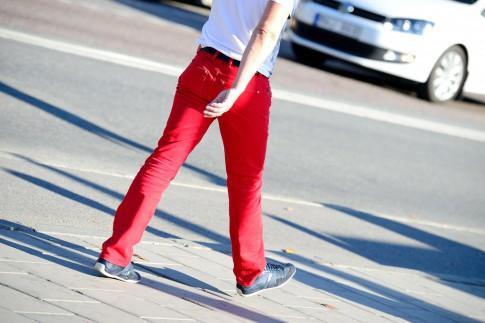 Welches T-Shirt passt farblich zur roten Hose?